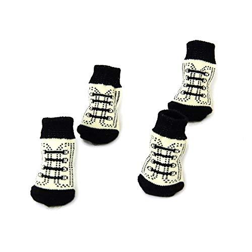 Hund Welpen-Katze-Anti-Rutsch-Socken mit niedlicher Tatze druckt Schwarzweiß (S) ()