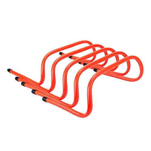 REEHUT Hürden Set Trainingsprodukt Hürden 5er Set Speed Hurdles Trainingshürden Koordinationshürden mit Tragegriff für Fußball, Basketball, Baseball, Hundesport - orange