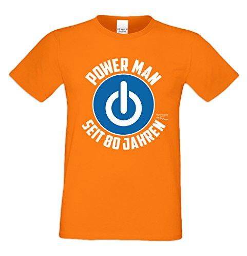 Geschenk zum 80. Geburtstag Herren T-Shirt Power Man Seit 80 Jahren Geschenk Idee Männer Papa Opa orange_08