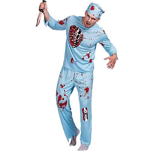 Kostüm Arzt Blutiger - Halloween Zombie Horror Blutigen Arzt Spielt Kostüm, Cosplay Zombie Print Kostüm, Halloween Maskerade Arzt Horror Kleidung,L