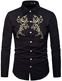 BUSIM Men's Long Sleeve Shirt Autumn Winter Luxury Casual Gold Ethnic Style Embroidered Fashion Slim T-Shirt Stand...