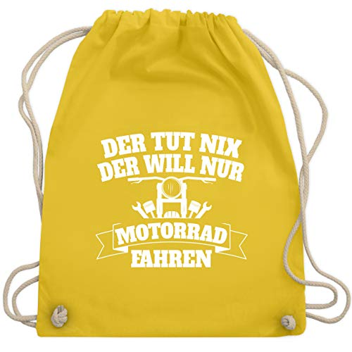 t nix der will nur Motorrad fahren - Unisize - Gelb - WM110 - Turnbeutel & Gym Bag ()