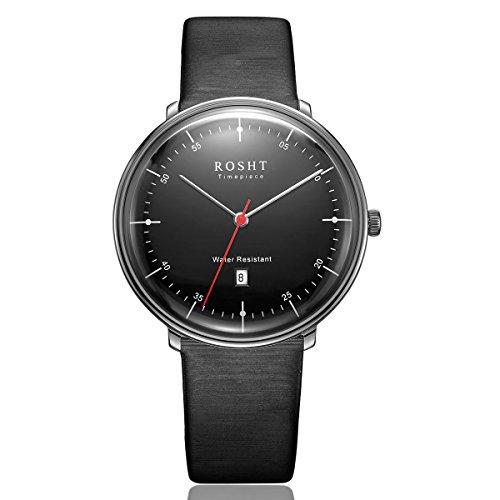 ROSHT Herren Uhr Analog Quarz mit Leder Armband Schwarz G185002BK (20mm Weiße Keramik-uhr-band)