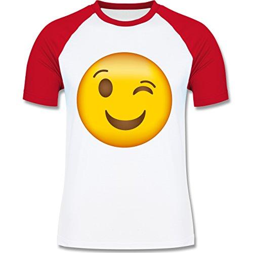 Shirtracer Comic Shirts - Zwinker Emoji - Herren Baseball Shirt Weiß/Rot
