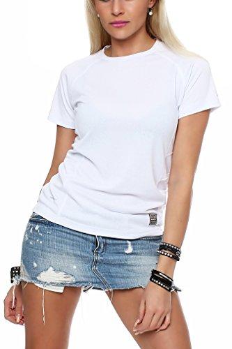 Happy Clothing Damen Sport T-Shirt kurzarm Trikot Sommer Funktionsshirt Fitness Top, Größe:XL, Farbe:Weiß (Kurzarm-volleyball Trikot)