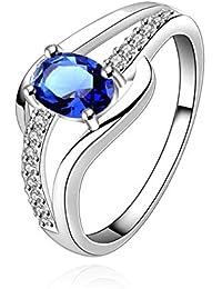 Karatcart Platinum Plated Elegant Austrian Crystal Exclusive Royal Blue Ring for Women