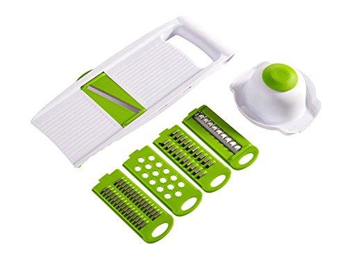 Mandolina de cocina compacta 5 en 1 marca WollfuL Cuchillas de acero inoxidable Ralladores cortadoras de Juliana con soporte de seguridad alimentaria