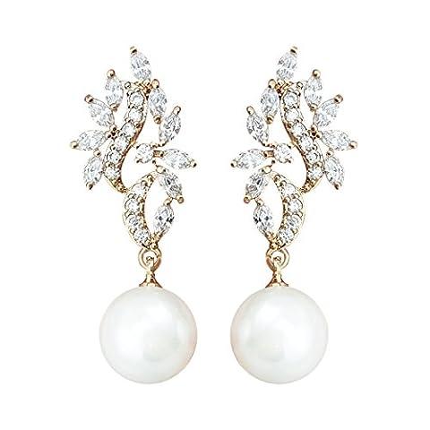 QUKE Zirkonia Gold-Ton Tropfen künstliche Perle Braut Piercing Baumeln hängend