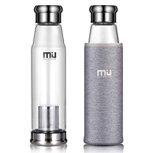 MIU COLOR® Stilvolle Tragbare 650ml Glasflasche Größere Kapazität Trinkflasche für Auto, mit Nylon Tasche & Teesieb (Grau)