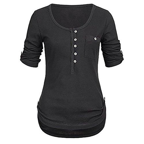 SEWORLD 2018 Damen Mode Sommer Herbst Elegant Schal Solide Langarm Knopf Bluse Pullover Tops Shirt mit Taschen(Schwarz,EU-48/CN-3XL)