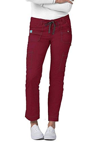 Adar Pop-Stretch Jr. Fit Low-Rise 11-Pocket Slim Cargo Pants - 3108 -Wine - L (Uniform Taille Kordelzug Elastische)