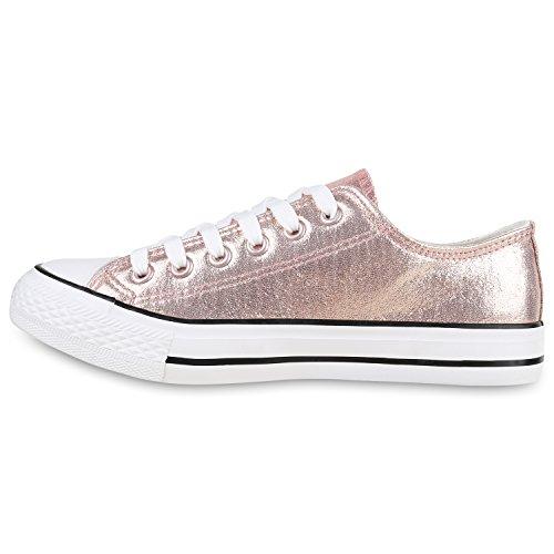 Damen Sneakers Mehrfarbig | Metallic Turnschuhe | Sneaker Low | Freizeit Flats Glitzer Rose Gold