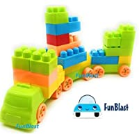 FunBlast Building Blocks for Kids with Wheel, 50 PCS Bag Packing, Best Gift Toy, Block Game for Kids,Boys,Children (34 Pcs & 16 Wheels)