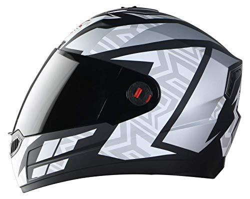 Steelbird SBA-1 Cesar Full Face Helmet in Matt Finish with Smoke Visor (Medium 580 MM, Matt Black/White)