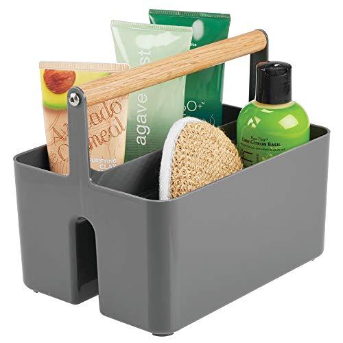 mDesign Cesta portaoggetti bagno – Scatola per armadio con comodi manici – Contenitore salvaspazio dotato di due pratici scomparti per indumenti