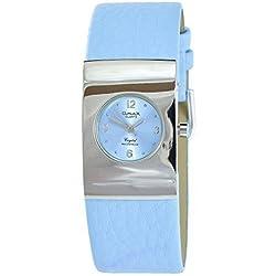 Omax Women's Quartz Watch Blue Silver Analogue Metal Leather Wristwatch