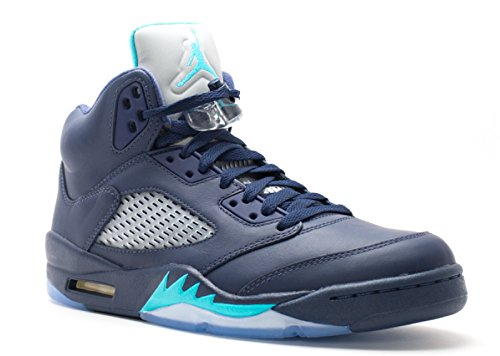 Nike Air Jordan 5 Retro, Scarpe da Fitness Uomo midnight navy, trqs blue-wht