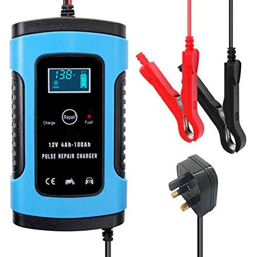 Dengofng Caricabatterie astuto automobilistico 12V 5A per Riparazione di impulsi con Display LCD Manutenzione Batteria per Auto, Moto, Camper, SUV, Tosaerba, Barca, Camper, SUV, ATV