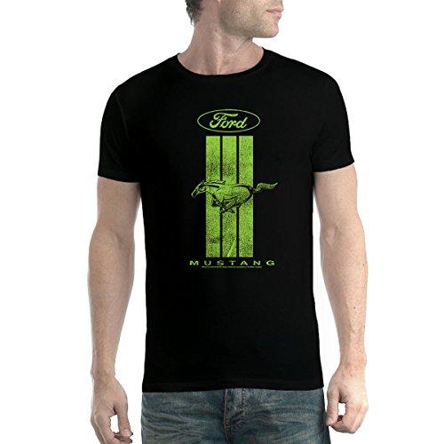 avocadoWEAR Ford Mustang Logo Vert Homme T-Shirt Noir 4XL