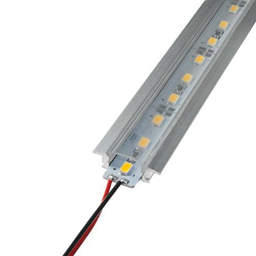 LED Aluschiene Set unterputz Alu Profil Schiene durchsichtiger Abdeckung ink. SMD Alustrip Lichtleiste Hart Strip Profil D transparent + Alu Strip Warmweiß 1 Meter (Tech-elemente)