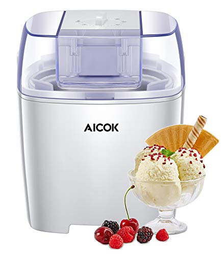 Aicok Ice Cream Maker Machine, 1.5 Liter European Most Buy Soft Ice Cream Maker with Recipes and Timer Function, Easy for Clean, Best Gift for Kids, Black