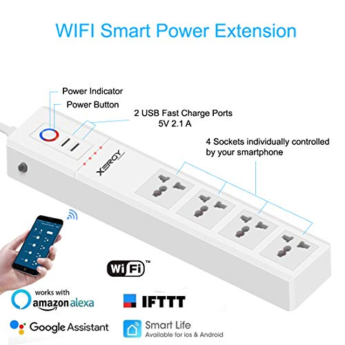 XERGY Smart Power Strip, Wi-Fi Surge Protector, Works with Alexa Echo , Google Assistant & IFTTT, Remote Control Individually, with 4 Smart AC Outlets and 2 USB Ports / Works with Alexa Home Automation - 1 Year Warranty Image 2