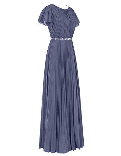 Dresstells Damen Chiffon Rundhals Bodenlang Abendkleider Ballkleid mit Träger Blush