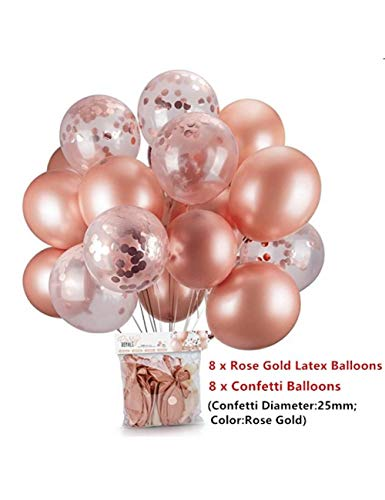 WSJQQ 16 Stücke Rose Gold Konfetti Ballon Baby Shower Girl Helium Ballon Baloes DIY Liebe Hochzeit Geburtstag Luftballons Dcoration Ball Deep Sapphire