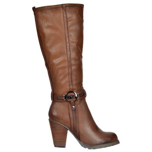 Onlineshoe Damen Knie Hoch Stiefel UK4 - Eu37 - Us6 - Au5 Braun Mit Schnalle (Schnalle Hohe Knie)