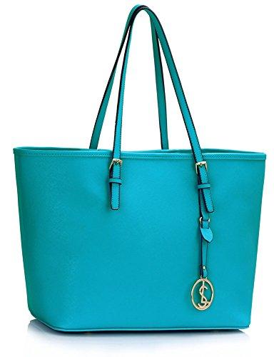 LeahWard Damenmode Desinger Qualität Shopper Bag Taschen Damen modisch meistverkauft Handtaschen Groß Größe Tasche CWS00297 Teal/blau