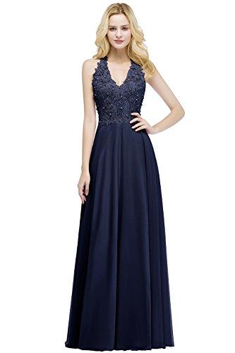 MisShow Ballkleid Abendkleid Lang Ärmellos Perlenstickerei Applique Chiffon Abschlusskleid, Navyblau, 36