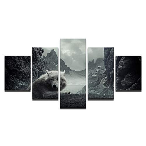Xzfddn 5 Panel Leinwand Malerei White Wolf Liegend Auf Dem Hügel Tier Wandkunst Malerei Modulare Tapeten Poster Print Home Decor-40X60/80/100Cm,With Frame