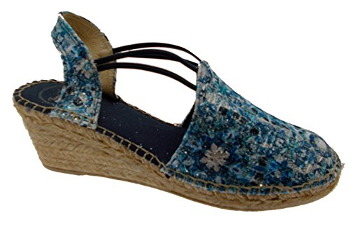 sandalo donna corda blu bianco zeppa art TORELLO fantasia espadrillas (40 IT Donna)