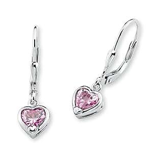 Prinzessin Lillifee Kinder-Ohrhänger Mädchen Herzen 925 Silber Zirkonia rosa