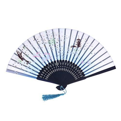 YWLINK Abanicos,Abanico De La Mano El Mejor Estilo Chino De La Boda del CordóN del Banquete De Boda De Seda Plegable Mano Ventilador De La Flor Fan del Baile Rendimiento(Azul)
