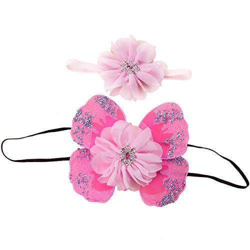 Amosfun 2 stücke Blume Stirnband Pailletten Strass Schmetterlingsflügel für Baby Infant Cosplay Geburtstag Baby Shower Party Favors Kostüme Foto Requisiten (Rosa Chiffon) -