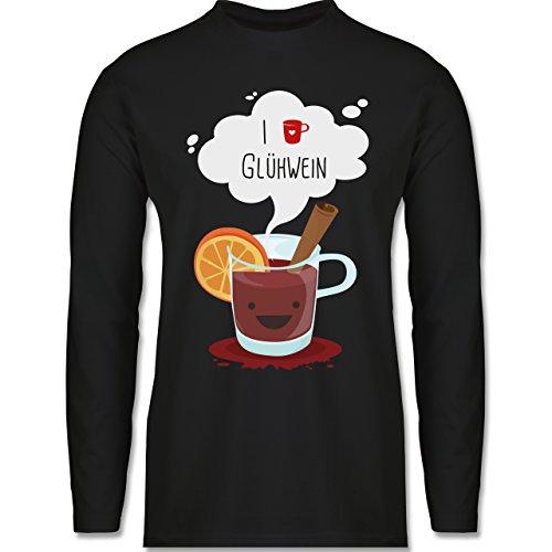 Weihnachten & Silvester - I love Glühwein glückliche Tasse - Longsleeve / langärmeliges T-Shirt für Herren Schwarz