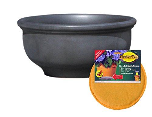 Hentschke Keramik Spar Set: Pflanzkübel + FlowerPad Ø 40 x 19 cm, Anthrazit, 011.040.70 Blumenkübel für Draußen + Innen - Made in Germany