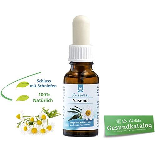 Öl Salbe (Dr. Ehrlichs Nasenöl 20 ml - schonende Pflege für trockene Nase und Nasenschleimhaut bei Erkältung Schnupfen - Pflege bei verstopfter Nase - Schnupfnase - Kamille - Jojoba - Eukalyptus-öl & Menthol helfen beim durchatmen - 100 % Natürlich - prima Alternative zur Nasensalbe und Nasenspray)