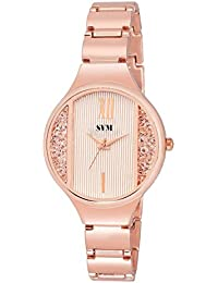 SVM KL-217~ Rose Gold Analog Diamond Studded Rose Gold Chain Watch
