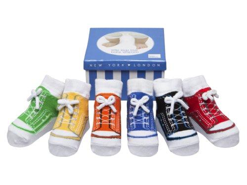 Baby Emporio - Baby Anti-Rutsch-Socken im Schuh-Design für Jungen - weiche Baumwolle - mit Geschenkkarton - 6 Paar - 0-9Monate - Sneaker-Socken (Schuh-design-socken)