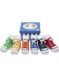 Baby- Emporio - 6 Paar-Baby Jungen Socken , die wie Schuhe aussehen -Anti-Rutsch-Baumwolle - Geschenkkarton-0-9 Monate