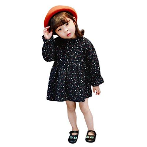 Janly Floral Prinzessin Kleider Kleinkind Mädchen Casual Tunika Kleid für 0–4Jahre Mädchen Lange Ärmel Kleid, Navy, 1-1.5 years Old