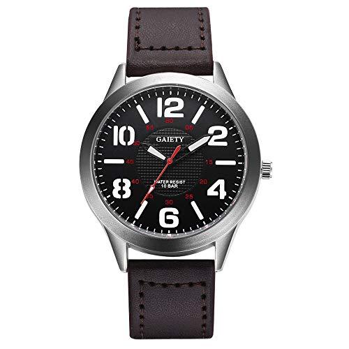 Jiameng orologio da polso, moda elegante orologio classico male fashion modello orologio al quarzo in pelle cinturino orologi convogliatori orologio da cintura (marrone)