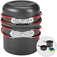 Bulin Camping Cookware Mess Kit Outdoor Backpacking Hiking Gear Cooking Equipment, Lightweight Compact Durable