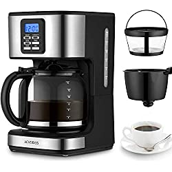AEVOBAS Kaffeemaschine, Filterkaffeemaschine mit Glaskanne, Programmierbar, mit LCD-Anzeige, Einstellbares Kaffeearoma, 1 bis 12 Tassen, Anti-Drip-Funktion, Automatische Warmhaltefunktion