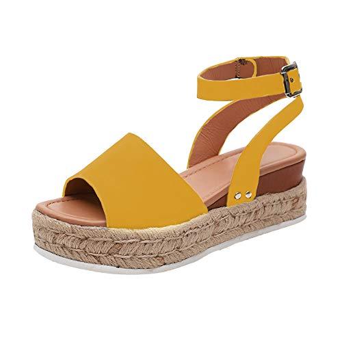 ba41e6487be33 Vertvie Femme Sandales Compensées Bout Ouvert Chaussures Été Imprimé  Léopard Plateforme Lanière Cheville Boucle Tongs Mode