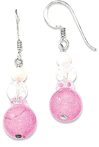 IceCarats 925 Sterling Silver Pink White Crystal/jade/mother Of Pearl Drop Dangle Chandelier