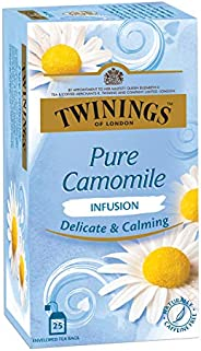 Twinings Pure Camomile Tea, 25 Teabags, Herbal Infusion Tea, Subtle and Flowery, Light and Gentle Taste