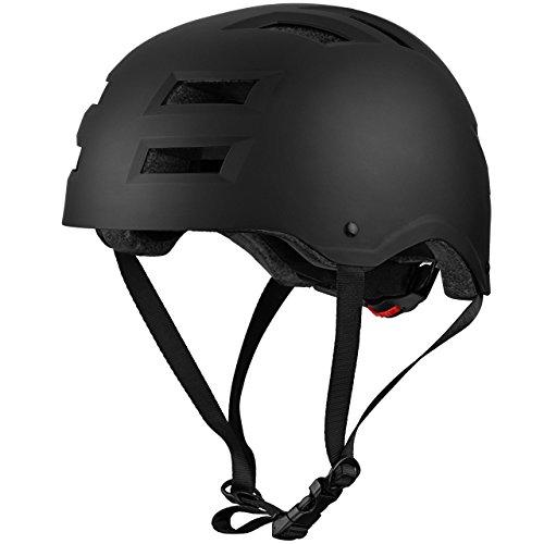 Casco de bicicleta resistente al impacto con 12 agujeros de OMorc, respiración y almohadillas interiores desmontables, ideal para deportes multi-ciclismo, skate, patinaje sobre ruedas – negro(Adulto)